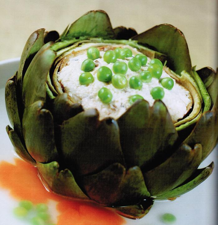 Hoa atiso nhồi đậu hủ